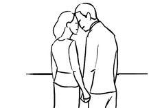Outra pose romântica que funciona bem em fotos externas, com bom espaço aberto ao fundo. Também serve para uma silhueta em um fundo bem iluminado, frente a um pôr-do-sol, por exemplo: