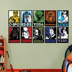 Star Wars C-3PO, R2-D2, Yoda, Chewbacca, Luke, Vader, Stormtrooper, Boba Fett, Han Solo, and Leia Portraits Collection