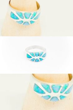 2 Post Free Outstanding Features Open-Minded Vintage Ring 1950s-1960s Turquoise Glass Flower unusual-estate