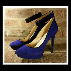 """(2X) HP...Jessica Simpson Blue Platform Heels These are show stoppers for sure. With an approx. 5"""" heel and a 1""""platform, these are head and shoulders above the rest in style and flair.  This beautiful shade of blue suede leather is simply gorgeous. There is an ankle strap with a black decorative piece on it and a back zipper. There is a black line through the brand label on the inside of the shoe. They are new in the box, not worn, but with some very lightly rubbed spots from laying in the…"""