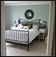 Soothing blue-gray paint called Gray Whisp by Benjamin Moore.living room or master bed? Blue Green Paints, Blue Gray Paint, Grey Paint Colors, Bedroom Paint Colors, Paint Colors For Home, House Colors, Gray Green, Blue Green Bedrooms, Bedroom Green