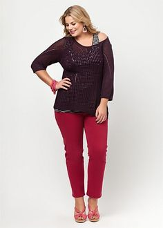 adf6cf21484 Plus size off the shoulder knit sweater top outfit
