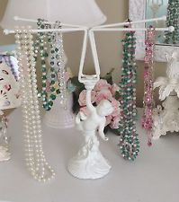 Shabby Romantic Chippy White~CHERUB NECKLACE JEWELRY HOLDER~4 Arms Cottage Chic