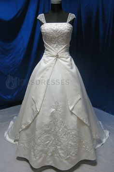 A-line Off-The-Shoulder Satin and Embroidered Plus Wedding Dress  SPECIAL PRICE: $146.30