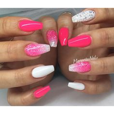 Neon pink and white coffin nails glitter ombré spring/summer 2016 nail art #pinkandwhitenails
