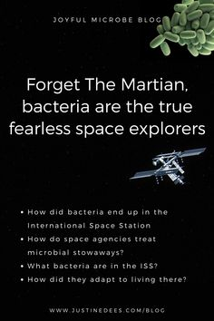 Bacteria have traveled to space and live in the International Space Station (ISS). How do space agencies treat microbial stowaways? What bacteria are in the ISS, and how have they adapted to living there? Science Articles, International Space Station, Microbiology, The Martian, Chemistry, Physics, How To Memorize Things, Live, Joyful