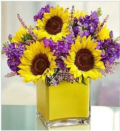 I love sunflowers with purple!!