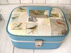 upcycled vintage train case bird watching