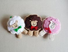 Crochet sheep ornament pincushion toy 1pc by MonikaDesign on Etsy,
