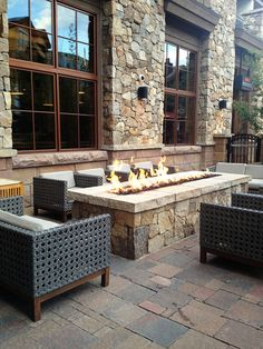 Amazing outdoor gas fireplace at the Sebastian Hotel in Vail, CO. Designed by Sandy Burden, Director of Interiors for Timbers Resorts. Click to read our full Designer Spotlight interview with Sandy Burden:  http://www.aandjbible.com/designer-sandy-burden/