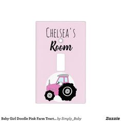 Farm Nursery, Tractor Nursery, Newborn Gifts, Baby Gifts, Pink Tractor, Baby Cover, Cover Girl, Nursery Lighting, Light Switch Covers