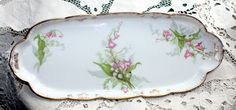 Antique French Limoges Porcelain Lily of the Valley Pin Tray