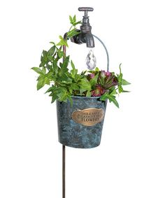 Look what I found on #zulily! 'The Earth Laughs in Flowers' Faucet & Bucket Garden Stake #zulilyfinds