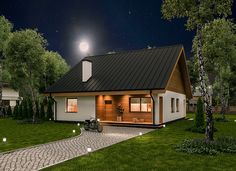 """Projekt domu """"Miarodajny - wariant II"""" Murator C333b - niewielki, zgrabny dom parterowy dla młodej, rozwojowej rodziny. Gdy potrzeba będzie więcej miejsca, wystarczy zaadaptować poddasze o powierzchni ponad 83 mkw."""