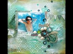 Mixed media scrapbook layout how to build up your background and use scraps. - YouTube
