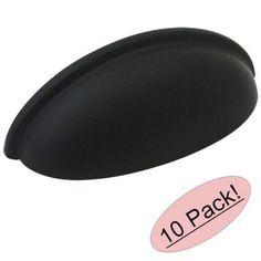 10 Pack Cosmas Cabinet Hardware Flat / Matte Black Cup Pulls #783Fb