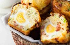 Savory, salty muffins can be made ahead and heated up for a quick breakfast on-the-go.This recipe is courtesy of Recipe Tin Eats.