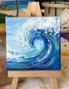 Painting acrylic ocean canvases ideas Painting acrylic ocean canvases ideasYou can find Painting ideas on canvas and more on our website.Painting acrylic ocean can. Cute Canvas Paintings, Small Canvas Art, Mini Canvas Art, Acrylic Painting Canvas, Mini Paintings, Wave Paintings, Ideas For Canvas Painting, Colorful Paintings, Beach Paintings