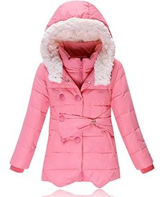 Roseate Winter Padded Down Coats Long Jacket Hooded for Girls Pink (8)