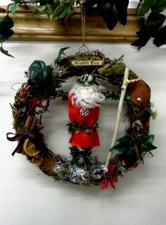 Handmade Natural OOAK Holly King Yule Wreath.Unique Positively Pagan Design.