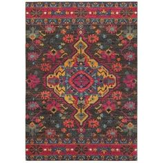 Style Haven Tribal Opulence Charcoal/Pink Area Rug in Medalon Pattern - Bohemian Style Rug - Vintage Style Throw Rug - Living Room Dining Room Rug