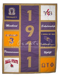 Omega Psi Phi quilt- could use his old t shirts Devine Nine, Omega Gifts, Black Fraternities, Greek Paraphernalia, Omega Psi Phi, Delta Sigma Theta, Sorority And Fraternity, Old T Shirts