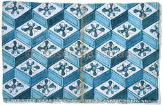 papier dominoté bleu à fleurs et losanges (titre factice) / D 996.1.15771 A