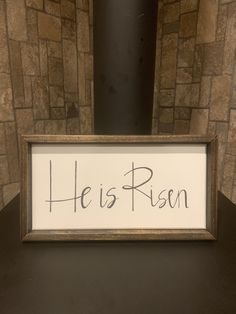 Multiple sizes available He Has Risen square Farmhouse style framed sign