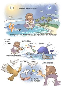 creation day by kokecit on DeviantArt Bible Verses For Kids, Bible Study For Kids, Bible Love, Bible Verses Quotes, Christian Comics, Christian Cartoons, Christian Art, Bible Crafts, Bible Art