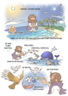 creation day by kokecit on DeviantArt Bible Verses For Kids, Bible Study For Kids, Bible Love, Bible Verses Quotes, Christian Comics, Christian Cartoons, Bible Crafts, Bible Art, Jesus Cartoon