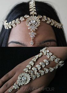 DIAMANTE HAND CHAIN BRACELET JEWELLERY PANJA RING & HAIR CHAIN HEADPIECE SET