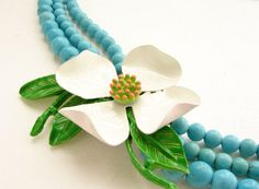 Dogwood statement necklace, vintage white flower enamel brooch triple strands turquoise, Resort beach wedding bridal jewelry gift for her