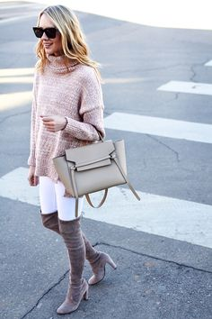 a5fb8e79bf4 Winter Outfit, Stuart Weitzman Over the Knee Boots, Celine Tie Belt Bag,  Blush