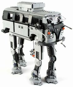 Here's what the final result looks like when an AT-AT Imperial walker have sex with a Volkswagen from the geeky mashup of a AT-AT walker from Star Wars and a groovy classic Volkswagen Bus was designed by LEGO Lego Krieg, Lego Mechs, Vw Bus, Vw Camper, Campers, Lego Design, Lego Star Wars, Lego Cars, Lego Robot