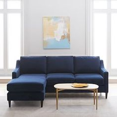 Paidge Flip Sectional, Poly, Yarn Dyed Linen Weave, Shelter Blue, Taper Chocolate at West Elm - Sectionals - Couches & Sofas - Living Room Furniture Reclining Sectional With Chaise, Chaise Cushions, Sleeper Sectional, West Elm, Living Room Sofa, Living Room Furniture, Living Rooms, Furniture Showroom, Furniture Stores
