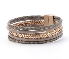 elegant, affordable multistrand taupe leather with gold bracelet bracelet  multistrand taupe leather with gold braid bracelet proves elegant can be affordable!  magnetic clasp
