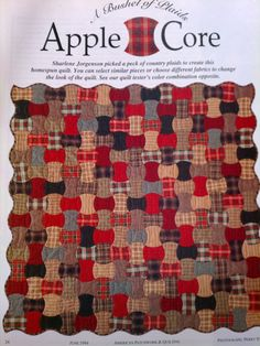 "ABushel of Plaids APPLE CORE 49"" square quilt pattern full size template - Pattern Page 236"