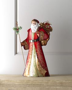 """Shop """"Bordeaux"""" Santa with Staff at Horchow, where you'll find new lower shipping on hundreds of home furnishings and gifts. Father Christmas, Little Christmas, Christmas Art, Winter Christmas, Christmas Decorations, Bordeaux, Santa Doll, Santa Suits, Burgundy And Gold"""