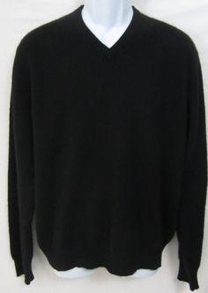 Grant Thomas 2 Ply Cashmere Sweater 100 % Mens Size Large Black V-Neck #GrantThomas #VNeck