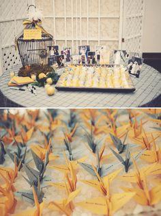 yellow and grey origami bird escort cards