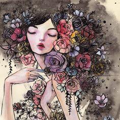 Девушка с цветами. Автор работ: Стелла Им Хултберг (Stella Im Hultberg).