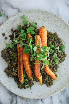 Brown Butter Lentils with Roasted Carrots