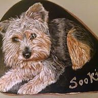 Yorkie / Yorkshire Terrier painted on Stone / Rock by Kathy Conlin/Cobbled Art. See www.etsy.com/shop/cobbledart See www.facebook.com/cobbledart