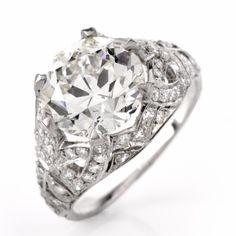 Antique 4.63ct Diamond Platinum Filigree Engagement Ring
