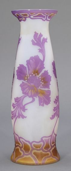 Vase Josef Riedel, Polaun um 1905. Farbloses Glas
