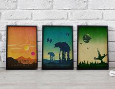 Star Wars Poster 3 Set Star Wars print Star Wars art