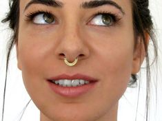 Gold Septum Ring - Indian Nose Ring - Nose Hoop - Traus - Cartilage - Rook - Nipple - Belly Ring- Solid Gold Nose Ring - Nose Jewelry