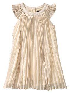 Gap Pleated Dot Dress - oyster