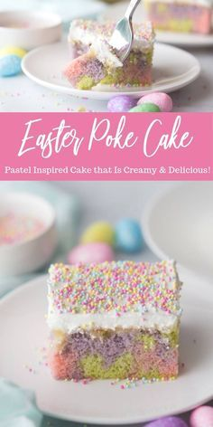This Easter Poke Cake Recipe is So Simple to Make, and it's the Perfect Easter Dessert Idea for Parties and Kids! It's easy, delicious and fun! dessert ideas Easter Poke Cake Recipe - Passion For Savings Easter Poke Cake Recipe, Easter Cake Easy, Poke Cake Recipes, Poke Cakes, Poke Recipe, Easter Food, Easy Easter Desserts, Easter Treats, Cakes For Easter