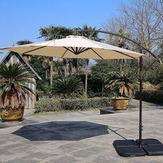 Outdoor Living 10 Ft Offset Umbrella Crank Patio Aluminum Hanging Base Uv Beige  #OutdoorLiving10Ft #OffsetUmbrella
